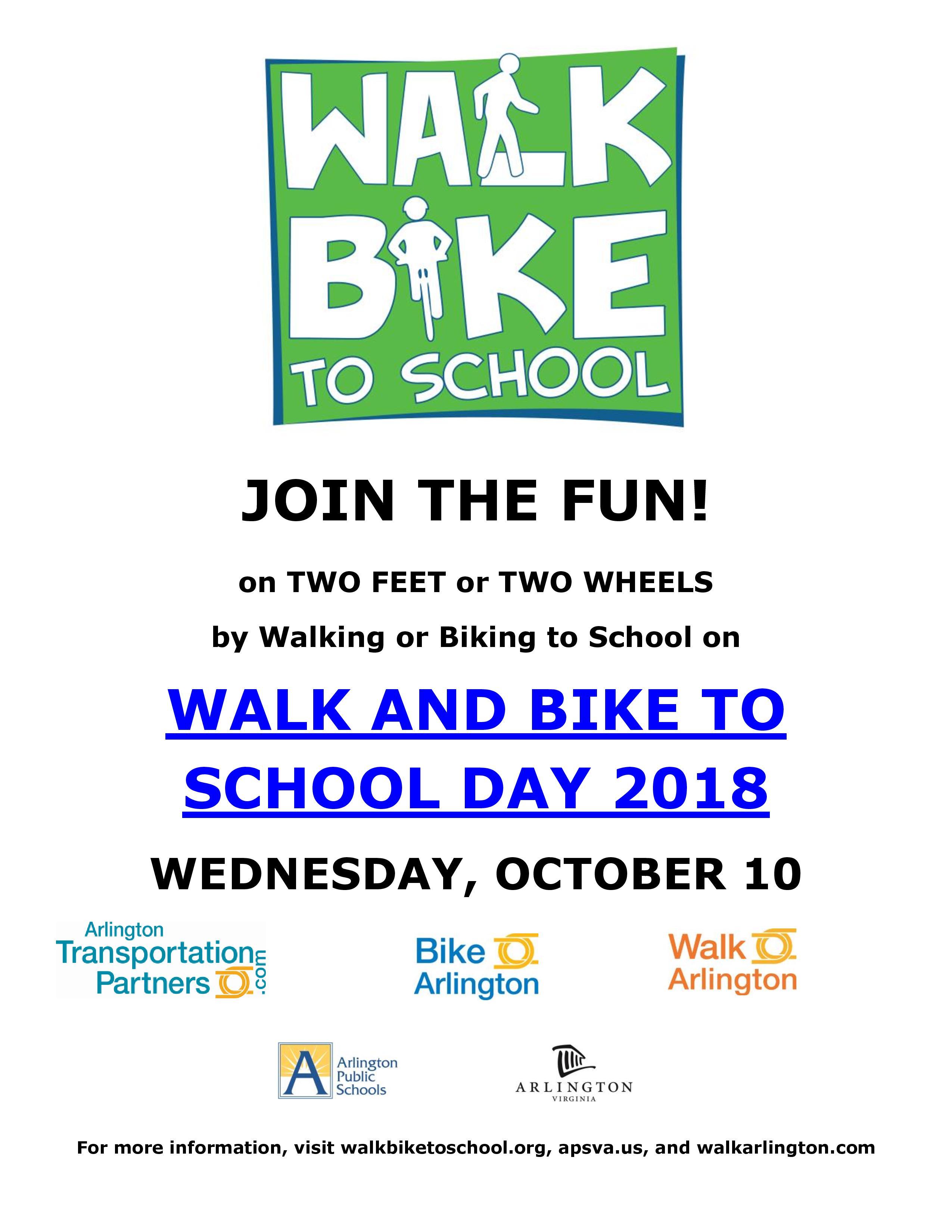 Walk Bike To School Day Wed 910día De Caminata O Bicicleta A La