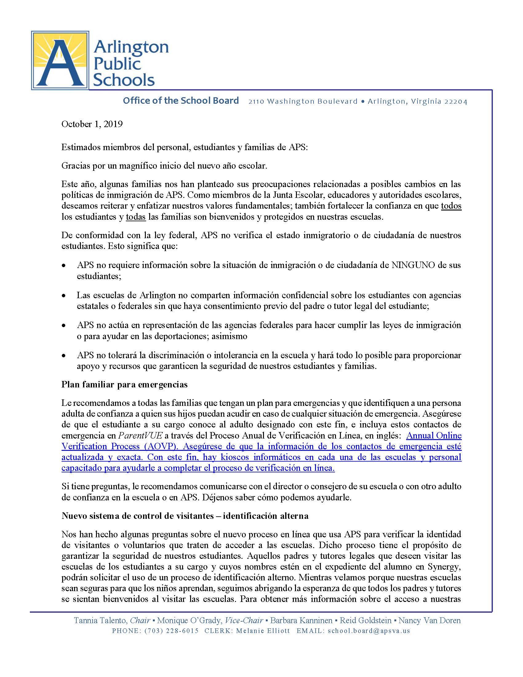 Immigration Letter to Families/Carta de Inmigración a las Familias